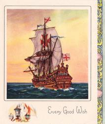 EVERY GOOD WISH masted ship with British flags & Bolnisi cross, decorative panel right