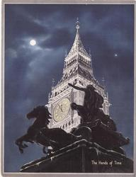 THE HANDS OF TIME Boadicea and her Daughters with Big Ben behind, night scene