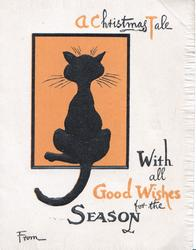 A CHRISTMAS TALE WITH ALL GOOD WISHES FOR THE SEASON black cat facing away in orange plaque