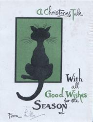 A CHRISTMAS TALE WITH ALL GOOD WISHES FOR THE SEASON black cat facing away in green plaque