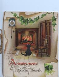 A WARM HEART AND A GLOWING HEARTH black cat sitting by fire, ivy above GOOD LUCK left in small letters