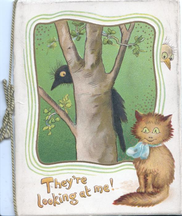 THEY'RE LOOKING AT ME, black crow perched behind tree on green plaque, ginger kitten with blue bow below right