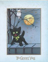 TO GREET YOU in gilt below toy black kitten on wall, white owl & smiling moon above