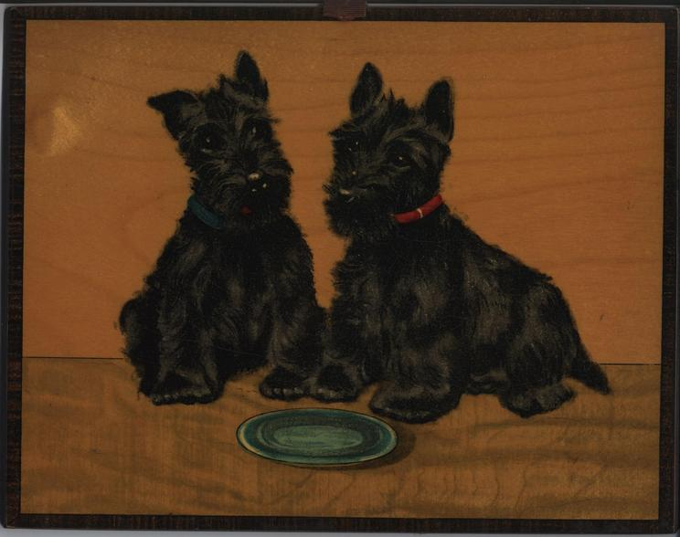 HULLO TWINS! (SCOTTISH TERRIERS) (title on reverse)