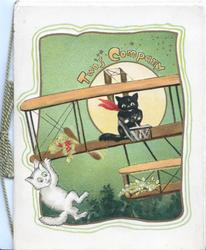 TWO'S COMPANY, black & white kittens fly fantasy airoplane, green background