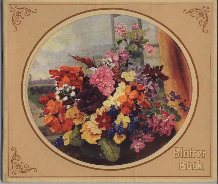 BLOTTER BOOK flowers in vase, circular image