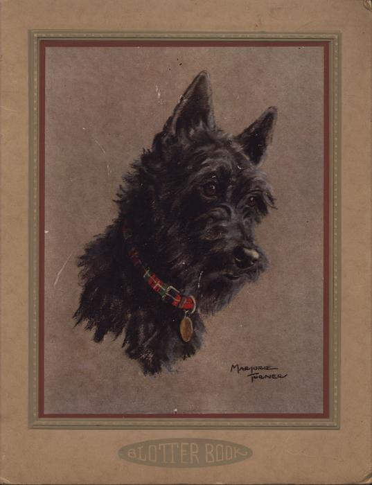 BLOTTER BOOK black scotch terrier with red plaid collar