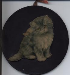SOMEBODYS DARLING circular board with image of grey cat raised and wooden