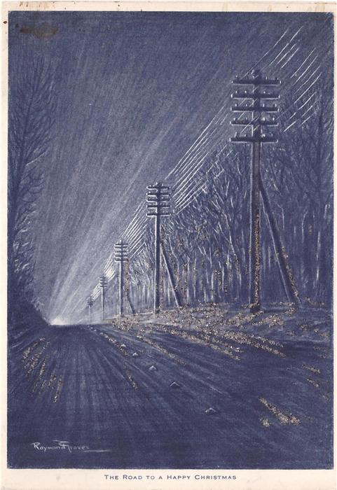 THE ROAD TO A HAPPY CHRISTMAS road lined with hydro poles & trees at night, in winter, shades of blue