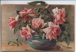 """THE TIME OF ROSES"" (title on reverse) pink roses in blue rose bowl"