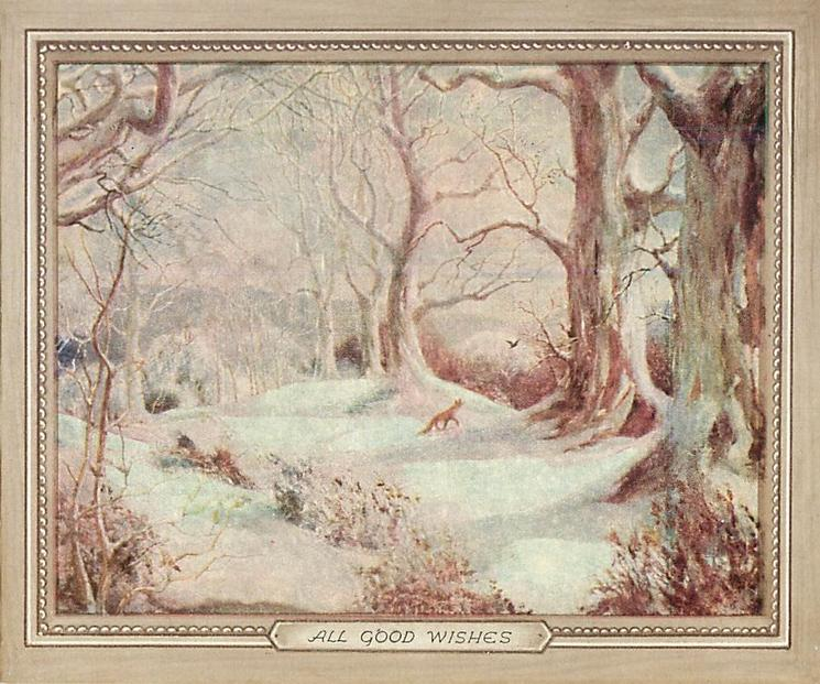 ALL GOOD WISHES fox in snowy woodland setting