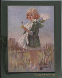 "BLOTTER ""SPRINGTIME""  little girl in green dress holds flower"