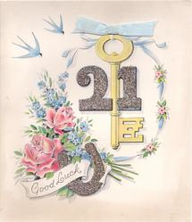 GOOD LUCK large key with blue ribbon applique, glittered 21 & horseshoe, roses, forget-me-nots & bluebirds of happiness