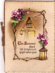 THE SEASON SHED ITS BRIGHTEST JOYS UPON YOU verse in front of house surrounded by violets