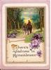 THERE'S GLADNESS IN REMEMBRANCE verse below man and woman walking down path with horse