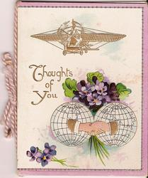 THOUGHTS OF YOU violets above two globes, plane above