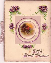 WITH BEST WISHES inset of country house surrounded by violets