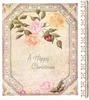 A HAPPY CHRISTMAS 3 roses & bud top, single rose below, alternating blossom & circle border, gilt panel right