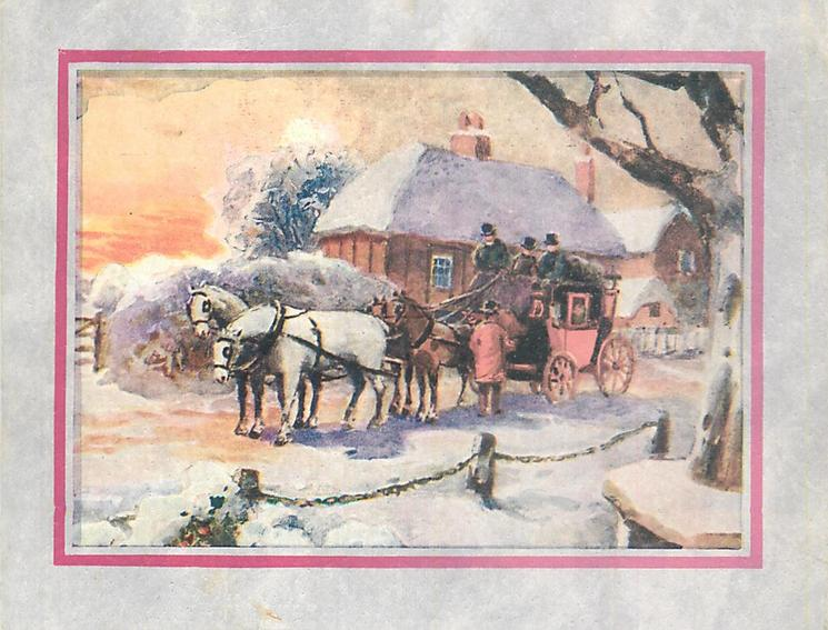 no front title, stagecoach faces left, stopped at cottage in winter, sunset, pink border