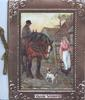 GOOD WISHES below framed inset, man sits sideways on cart-horse & talks to girl with lantern, dog