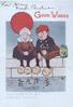 GOOD WISHES  in red above dutch child caricatures sitting fishing,TWO MINDS, WITH BUT A SINGLE THOUGHT below