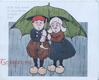 TO GREET YOU  in red below dutch child caricatures under green umbrella FOR THE RAIN IT RAINETH EVERY DAY