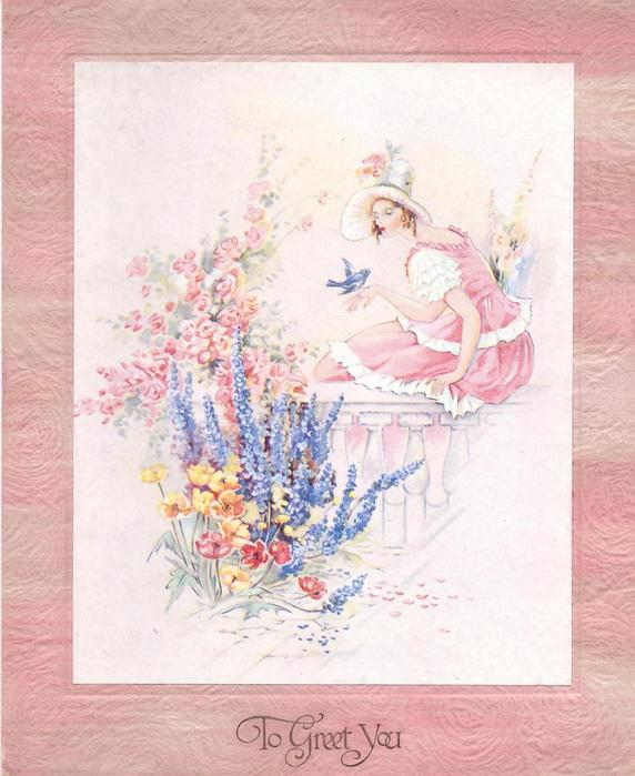 TO GREET YOU woman in pink sits looking at bluebird perched on her hand, flower garden