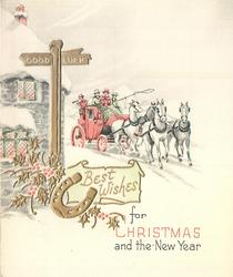 BEST WISHES FOR CHRISTMAS AND THE NEW YEAR stagecoach in winter, gilt holly & horseshoe, GOOD LUCK on post