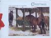THE FARMYARD IN WINTER,three horses, one eats from manger in snow