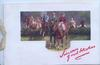 SINCERE GOOD WISHES in red, group of riders have jumped a hedge