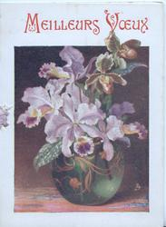 MEILLEURS VOEUX in red above glass vase of pale purple orchids