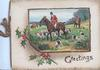 GREETINGS below inset of huntsmen & hounds, berried holly