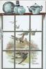JOY WING THE HOURS in gilt, view through window of bluebirds of happiness flying over rural scene, blue porcelain on shelf above