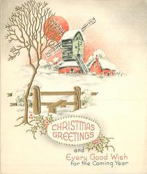 CHRISTMAS GREETINGS AND EVERY GOOD WISH FOR THE COMING YEAR gilt tree, windmill, red sun