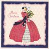 MERRY CHRISTMAS woman in elaborate red dress carries holly, blue & red border, diamond pattern behind