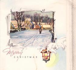 MERRY CHRISTMAS inset: boy walks towards town along snowy tracks, lantern below