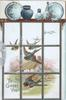 TO GREET YOU in gilt, view through window of bluebirds of happiness flying over rural scene, blue porcelain on shelf above