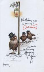 WISHING YOU A MERRY CHRISTMAS AND A STEADY HAPPY NEW YEAR FROM drunk owls wearing hats try & walk under lamp-post AN OWLING TIME