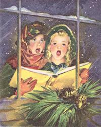no front title, view through window, 2 children carol at night holding yellow song book, fir needles & cones