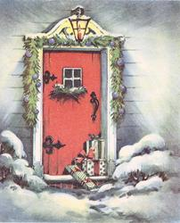 no front title, gifts on decorated snowy doorstep, red door