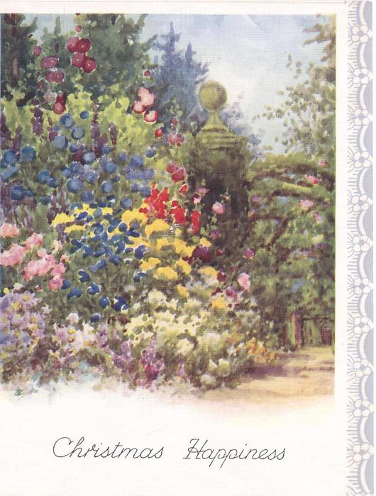 CHRISTMAS HAPPINESS garden with many tall flowers, path right, stylised flowers on panel right