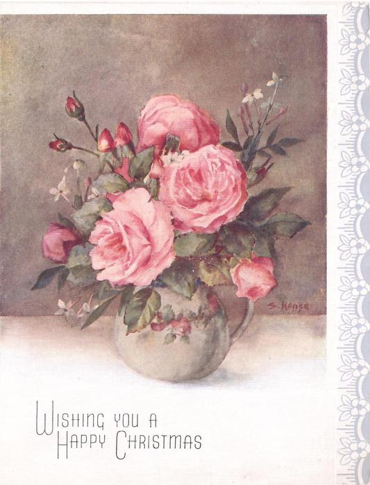 WISHING YOU A HAPPY CHRISTMAS pink roses in vase with handle, stylised floral panel right