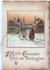 BLITHE CHRISTMAS SETS OUR HEARTS AGLOW below rural inset, woman in red walks front away from pump, cream & brown background