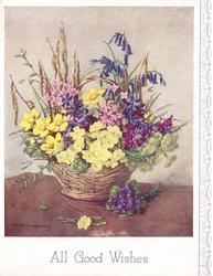 ALL GOOD WISHES mixed wild flowers in woven basket, stylised floral panel right