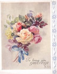 TO BRING YOU GREETINGS bouquet of mixed roses tied with blue ribbon, stylised floral panel right