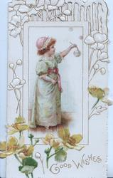 GOOD WISHES in gilt below framed inset of red-haired girl standing blowing bubbles, buttercups around
