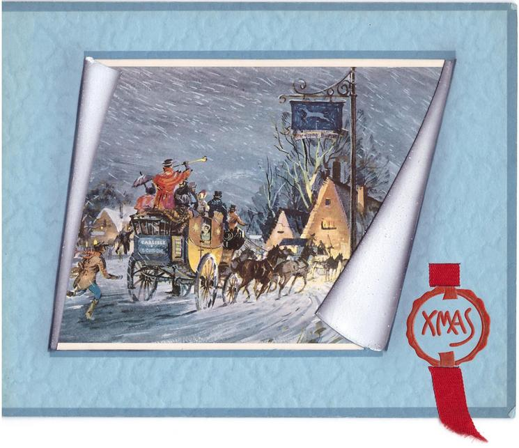 XMAS in red seal opt. with ribbon, inset stagecoach seen through perforated window