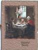 HAPPY DAYS in gilt below inset of cottage interior, family at table below window, wide dark brown margins