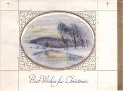 BEST WISHES FOR CHRISTMAS below satin inset: wide stream in winter divides snowy banks, row of trees right