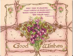 GOOD WISHES in gilt, heather and gilt ivy above with verse at top